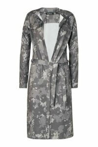 Womens Camo Print Duster Coat - Grey - 14, Grey