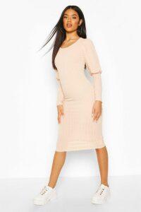 Womens Rib Mini Dress With Deep Cuffs - Pink - 14, Pink