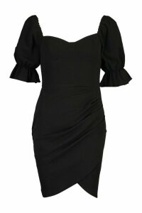 Womens Puff Sleeve Cupped Mini Bodycon Dress - Black - 14, Black