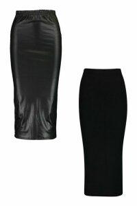 Womens 2 Pack Wet Look & Jersey Midaxi Skirt - Black - 16, Black