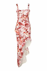 Womens Floral Print Square Neck Ruffle Maxi Dress - Purple - 14, Purple