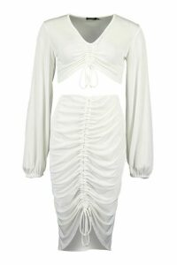 Womens Slinky Ruched Front Top & Skirt Co-Ord - White - 14, White