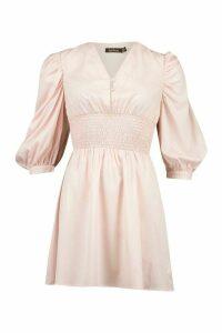 Womens Button Shirred Waist Skater Dress - Pink - 16, Pink