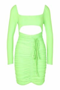 Womens Neon Square Neck Ruched Mini Dress - Green - 14, Green