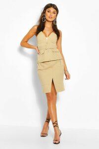 Womens Utility Pocket Detail Skirt - Beige - 14, Beige
