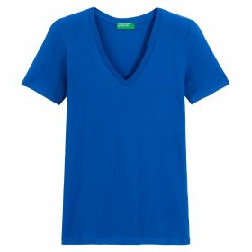 Cotton V-Neck T-Shirt with Short Sleeves