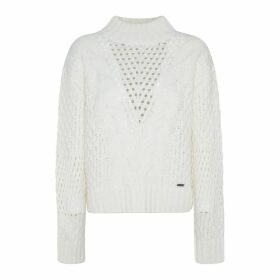 Chunky Openwork Knit Jumper with High Neck