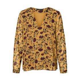 Floral Print V-Neck Blouse with Long Sleeves