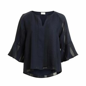 Openwork Grandad Collar Blouse with 3/4 Length Sleeves