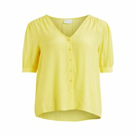 Vijaqas Buttoned Blouse with Short Puff Sleeves
