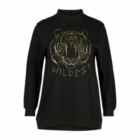 Funnel Neck Printed Sweatshirt