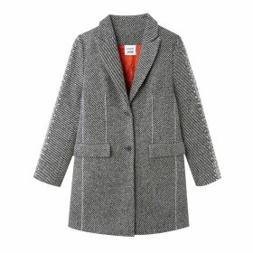 Unisex Single-Breasted Wool Mix Coat with Pockets and Diamanté Sleeves