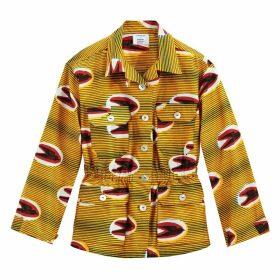 Tribal Print Utility Jacket with Drawstring Waist