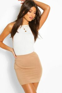 Womens Basic Jersey Mini Skirt - Beige - 8, Beige