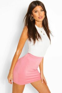 Womens Basic Jersey Mini Skirt - Pink - 12, Pink