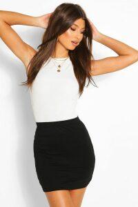 Womens Basic Jersey Mini Skirt - Black - 6, Black