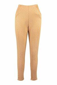 Womens Embossed Animal Tapered Leg Trouser - Beige - 14, Beige