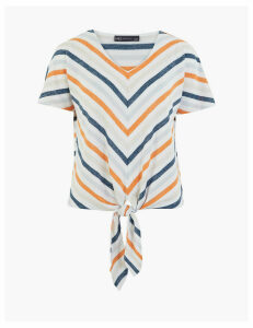 M&S Collection Luxe Touch Striped Relaxed Tie Hem Top
