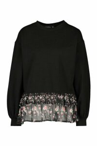Womens Printed Frill Jumper - Black - 12, Black