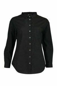 Womens Oversized Denim Shirt - Black - 16, Black