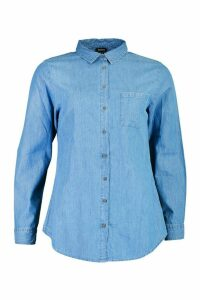 Womens Oversized Denim Shirt - Blue - 14, Blue