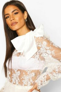 Womens Embroidered Bow Detail Blouse - White - L, White