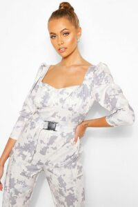 Womens Camo Print Puff Sleeve Top With Deep Cuffs - Beige - 14, Beige