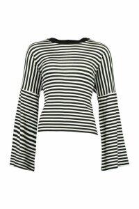 Womens Stripe Ringer Long Sleeved T-Shirt - Black - 14, Black