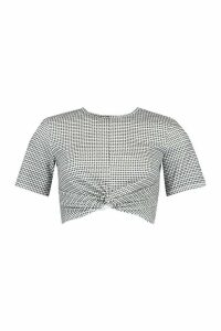 Womens Mini Check Knot Front Top - Mono - 14, Mono
