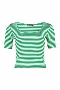 Womens Striped Rib Scoop Neck Top - Green - 14, Green
