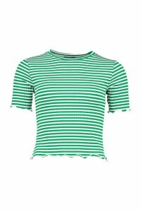 Womens Striped Rib Top With Lettuce Hem And Cuffs - Green - 12, Green