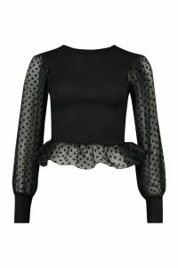 Womens Heart Mesh Sleeve Peplum Top - Black - 16, Black