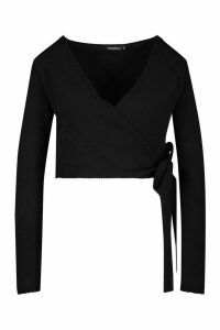 Womens Crop Wrap Tie Front Cardigan - Black - M, Black