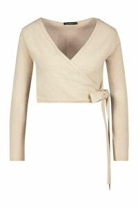 Womens Crop Wrap Tie Front Cardigan - Beige - M, Beige