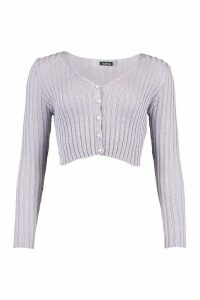 Womens Skinny Rib Crop Pearl Cardigan - Purple - L, Purple