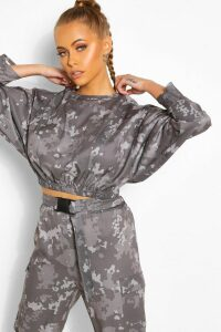 Womens Camo Print Batwing Top - Grey - 14, Grey
