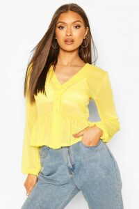 Womens Dobby Spot Button Front Peplum Top - Yellow - 14, Yellow