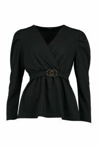 Womens Puff Sleeve Peplum Belted Top - Black - 12, Black
