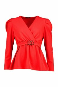 Womens Puff Sleeve Peplum Belted Top - Red - 14, Red
