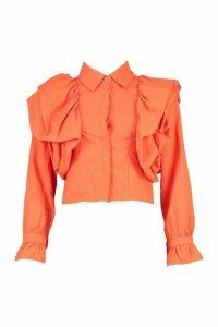 Womens Extreme Ruffle Detail Shirt - Orange - L, Orange