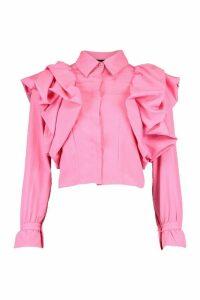 Womens Extreme Ruffle Detail Shirt - Pink - M, Pink