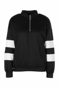Womens Colour Block Sleeve Zip Neck Crop Sweatshirt - Black - 16, Black