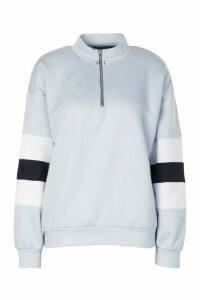 Womens Colour Block Sleeve Zip Neck Crop Sweatshirt - Blue - 16, Blue