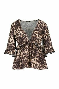 Womens Woven Leopard Smock Top - Brown - 14, Brown