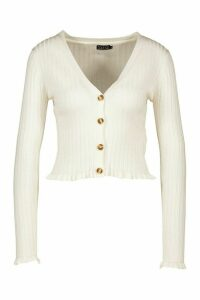 Womens Ribbed Frill Detail Cardigan - White - L, White