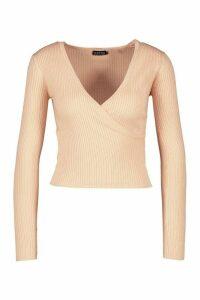 Womens Skinny Rib Wrap Long Sleeve Knitted Top - Beige - M, Beige