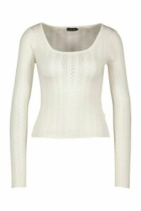 Womens Pointelle Knitted Square Neck Top - White - M, White