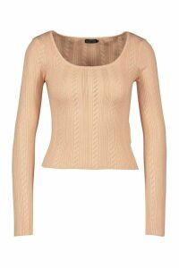 Womens Pointelle Knitted Square Neck Top - Beige - Xs, Beige
