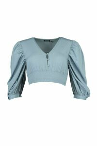 Womens Woven Extreme Blousson Sleeve Shirred Top - Blue - 16, Blue
