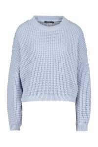 Womens Oversized Balloon Sleeve Waffle Stitch Jumper - Blue - L, Blue